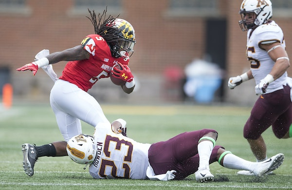 Jordan Howden stopped Maryland's Anthony McFarland on a third-quarter run last month in College Park, Md.