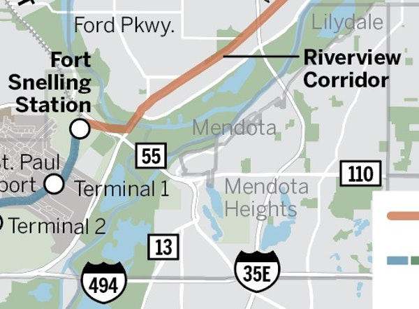 Map of proposed Riverview Corridor