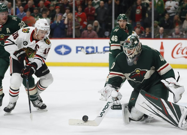 Through nine years in the NHL, the Wild's Devan Dubnyk has compiled a mental catalog of the best players on each team, including Jonathan Toews (19)