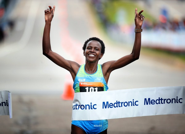 "Jane Kibii, winner of the women's race at the past two Twin Cities Marathons, enjoys running in Minnesota. ""There's something magic here,''"
