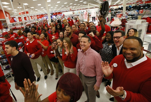 Target CEO Brian Cornell kicks off Thanksgiving shopping at Target in 2016.