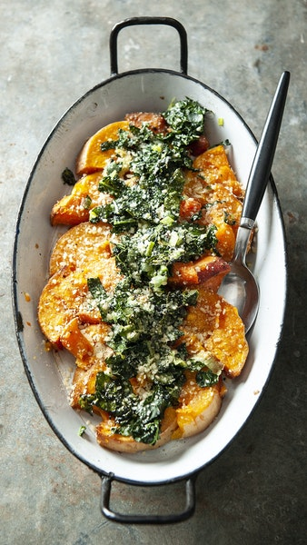 Roasted Butternut Squash With Sizzled Kale and Parmesan.