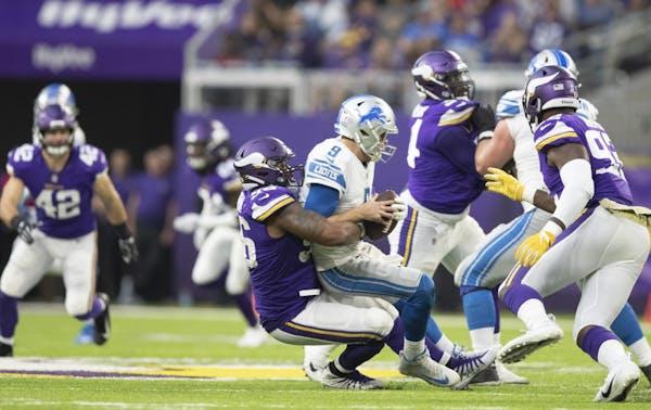 Vikings tackle Tom Johnson sacked Lions quarterback Matthew Stafford for a 7 yard loss at U.S.Bank Stadium Sunday 4, 2018 in Minneapolis, MN.