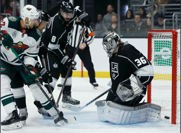 Wild right wing Nino Niederreiter scored as Kings goaltender Jack Campbell during the first period Thursday.