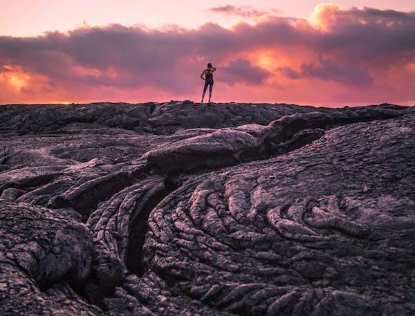 A lava field at sunset at Hawaii Volcanoes National Park.