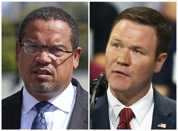 FILE - This combination of file photos shows the candidates for Minnesota attorney general from left, Democratic U.S. Rep. Keith Ellison and Republica