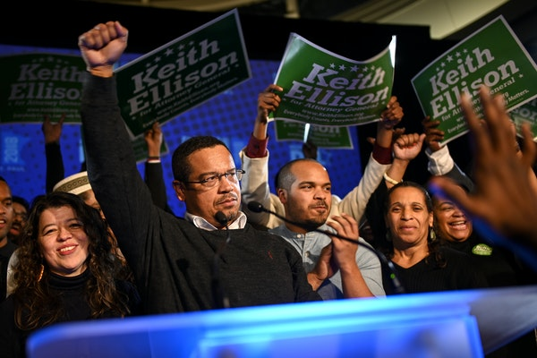 Rep. Keith Ellison addressed supporters after winning the attorney general race Tuesday night at the DFL headquarters election night party at the Inte