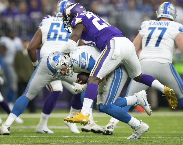 Mackensie Alexander brought down Lions quarterback Matthew Stafford on Sunday, one of a team record 10 sacks for the Vikings.