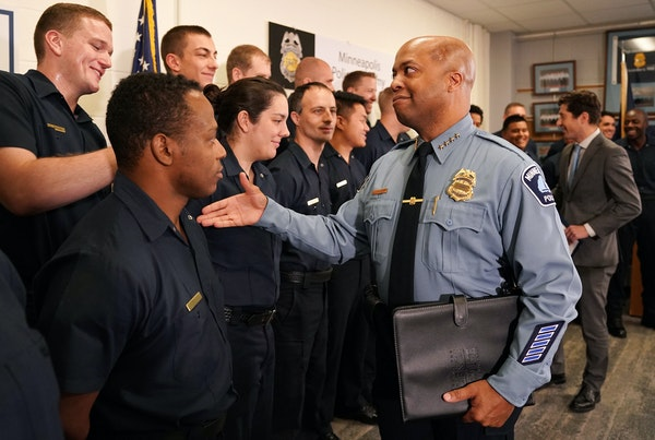 Police Chief Medaria Arradondo greeted cadets following of a news conference Thursday held by Mayor Jacob Frey to announce he had appointed Arradondo