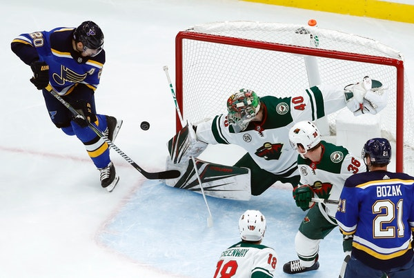The Blues' Alexander Steen is unable to score past Wild goaltender Devan Dubnyk during the first period Sunday.