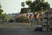 Hibbing's First Avenue was decorated with American flags for Flag Day and July 4th.