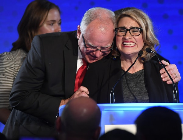Governor-elect Tim Walz embraced running mate, Lt. Governor-elect Peggy Flanagan, as they took the stage for their acceptance speech Tuesday night at