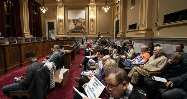 There was a full crowd in the chambers and overflow rooms during a public hearing on the 2040 Comprehensive Plan at Minneapolis City Hall on Wednesday