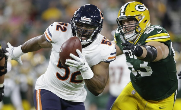 The Bears' Khalil Mack became a difference-maker immediately, whether by disrupting passes or, as above, just making the interception himself.