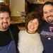 Mom Lupe hugs chef sons Mike Brown, left, and Matt Brown, right. Mike helped Matt cook after Matt's daughter got cancer.