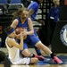 Players from Hopkins, left, and St. Michael-Albertville battled in the girls' basketball state tournament. Those matchups will become more routine, wi