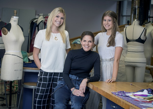 Claire Schierman, left, assistant Prof. Kelly Gage and Maggie Krawczyk wear the menocore look at St. Catherine University in St. Paul.