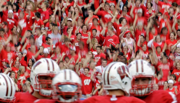 Badgers fans rock Camp Randall Stadium at the start of the fourth quarter when the marching band plays House of Pain's Jump Around.