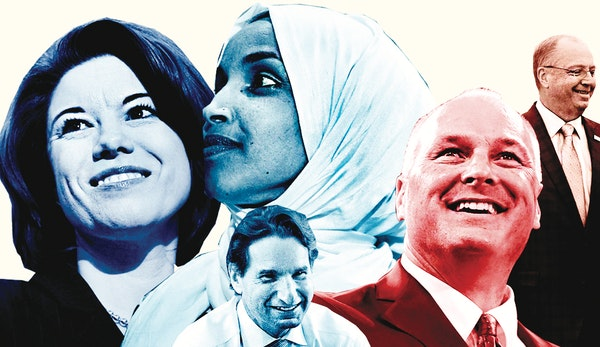 From left: U.S. Reps.-elect Angie Craig, Ilhan Omar, Dean Phillips, Pete Stauber and Jim Hagedorn