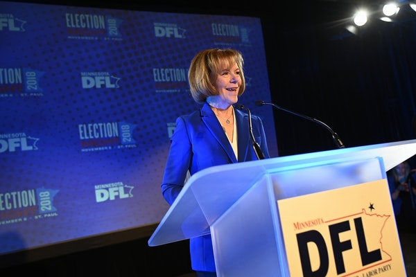 Sen. Tina Smith gave her acceptance speech Tuesday night at the DFL headquarters election party in St. Paul.