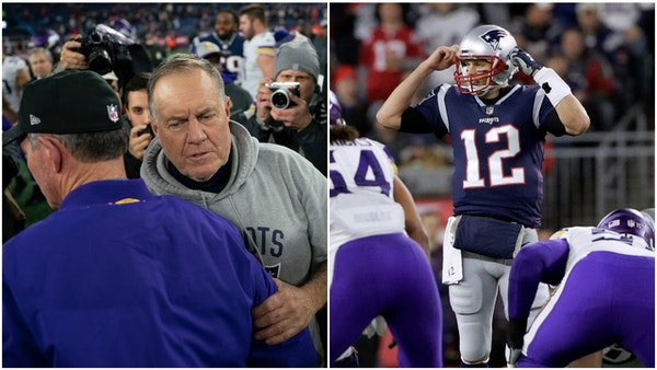 Patriots coach Bill Belichick chatted with Mike Zimmer after New England's victory Sunday; Tom Brady worked the line of scrimmage Sunday during the ga