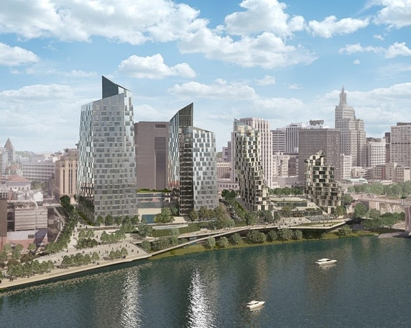 AECOM envisions three towers overlooking St. Paul's waterfront that would include apartments, a hotel and condos and office space. Plans also call for