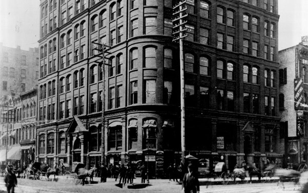 The Temple Court Building in Minneapolis was designed by E. Townsend Mix and completed in 1886.