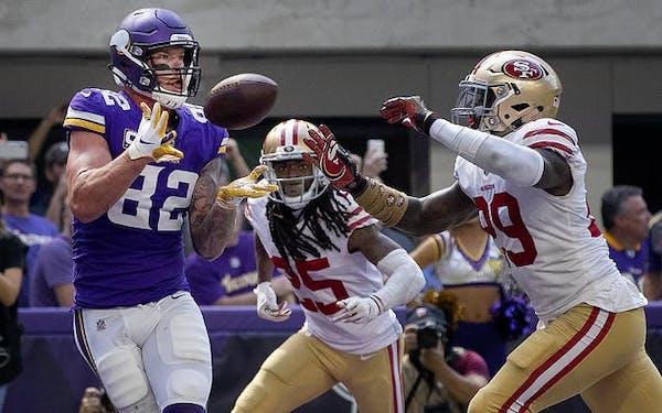 Kyle Rudolph (82) caught a 11-yard touchdown pass in the third quarter.