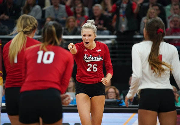 Nebraska's Lauren Stivrins celebrated her point in the final set against Illinois.