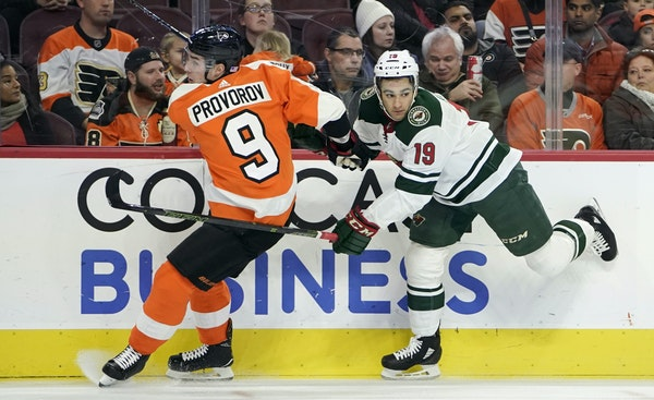 Aggressive checking is a strength of the Wild's Luke Kunin (19), and he doesn't expect last season's ACL injury to hinder him in his return to t