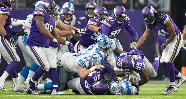 At its best, the Vikings front four can be a disruptive bunch, as Lions running back Kerryon Johnson found out last month when he was tackled for no g