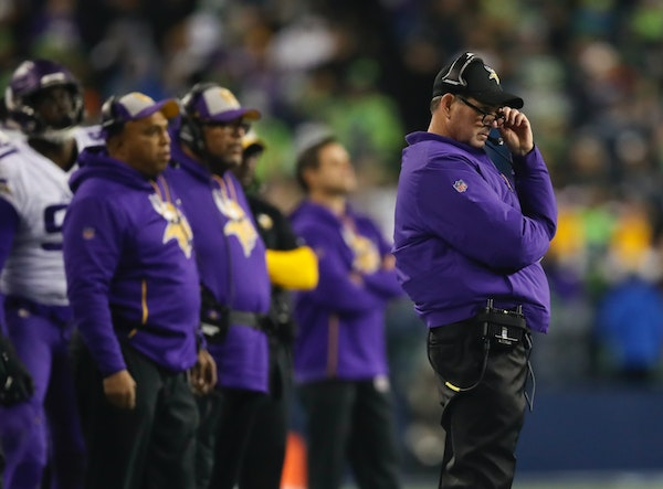 Vikings head coach Mike Zimmer on the sidelines in the fourth quarter against Seattle