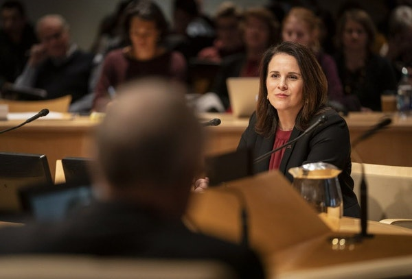 Joan Gabel answered questions by the Board of Regents on the University of Minnesota campus in Minneapolis, Minn. on December 14, 2018.