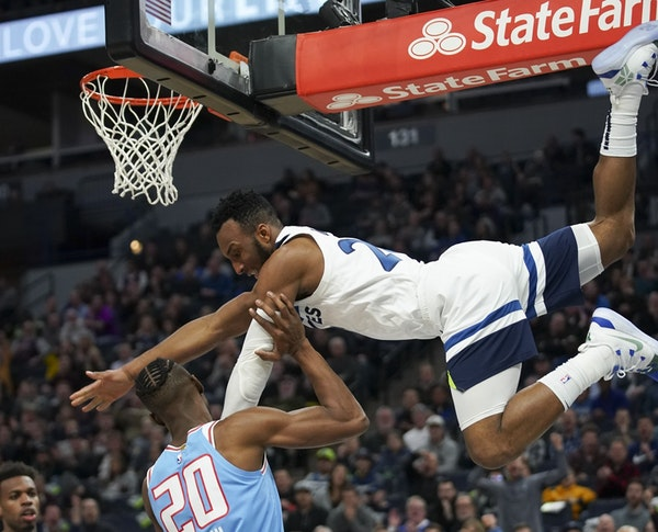 Wolves rookie guard Josh Okogie made a spectacular descent from the hoop after dunking in the second quarter on Kings forward Harry Giles.