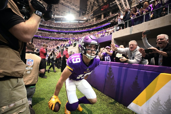 Vikings receiver Adam Thielen celebrated his 2-yard touchdown catch vs. the Lions last month at U.S. Bank Stadium.