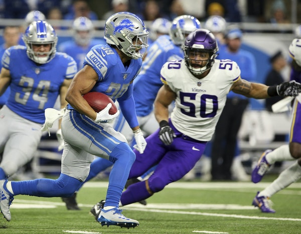 Vikings linebacker Eric Wilson prepared to stop the Lions' Jamal Agnew on a punt return Sunday, when Wilson had seven tackles on defense and two more