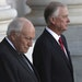 Former Vice President Dick Cheney, left, and and former Vice President Dan Quayle, await the arrival of the procession carrying the casket of former P