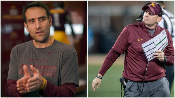 Gophers defensive coordinator Joe Rossi, left, replaced Robb Smith during the season.