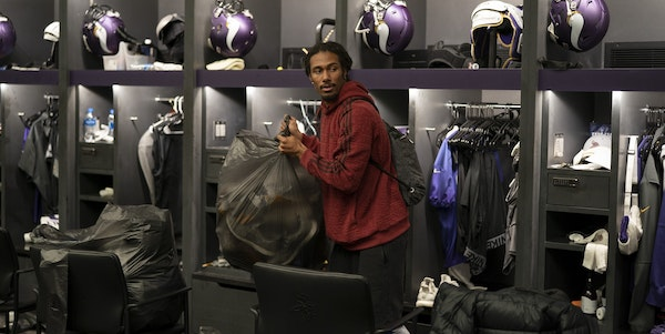 Vikings cornerback Trae Waynes packed up after yesterday's loss to the Chicago Bears at TCO Performance Center Monday December 31, 2018 in Eagan, MN