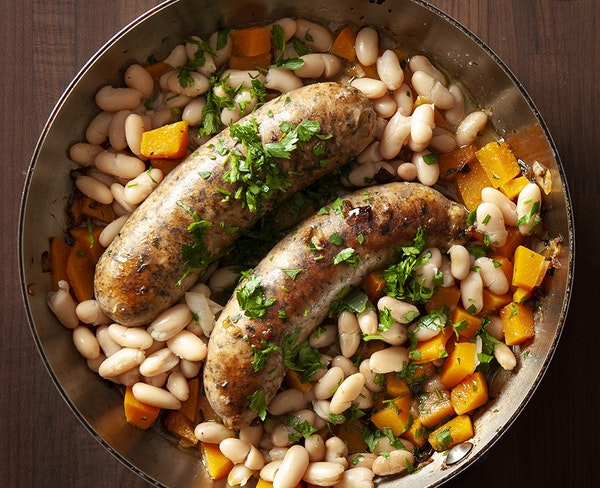 Beans, Winter Squash and Sausages.