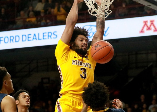 Gophers senior Jordan Murphy dunked during the first half against North Carolina A&T on Friday night at Williams Arena.