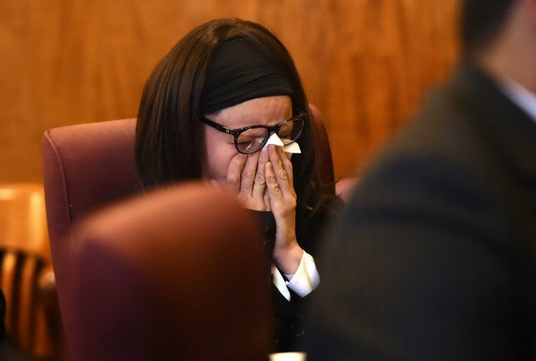 Rachel Kayl broke down at her sentencing hearing Wednesday for a 2016 crash that killed Mounds View High School students Bridget Giere and Stephanie C