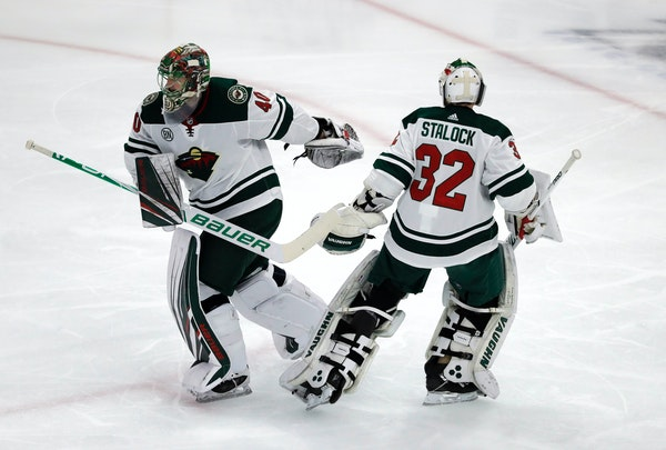 Devan Dubnyk skated off to the Wild bench after getting pulled for Alex Stalock in the second period Thursday night at Chicago. Dubnyk gave up three g