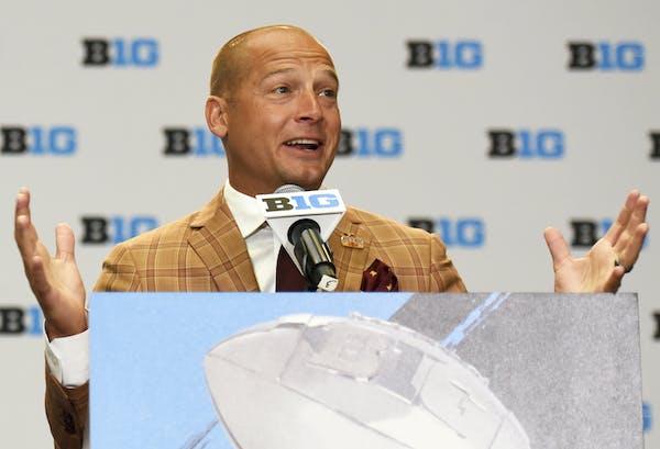 Minnesota coach P.J. Fleck woke up the Big Ten media early Tuesday morning in Chicago. (AP Photo/G-Jun Yam)