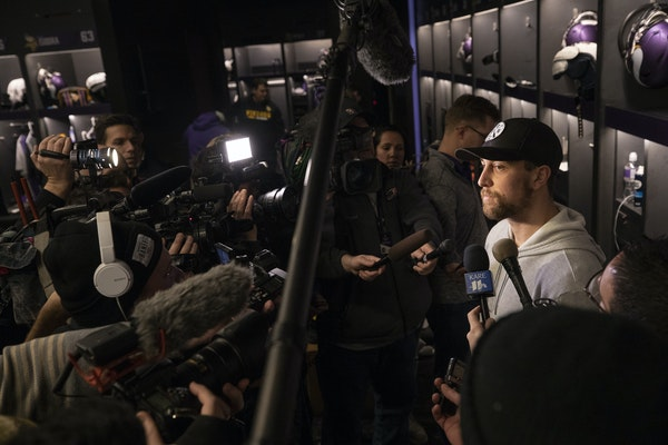 Vikings receiver Adam Thielen talked to reporters as players cleaned out their lockers Monday.