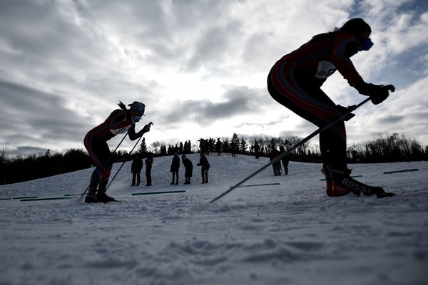 High school girls' skiers competed last February at the Nordic skiing state meet at Giants Ridge, which also hosts the annual Mesabi East Invitational
