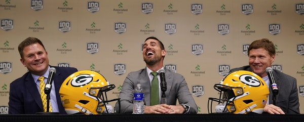 New Packers head coach Matt LaFleur (center, with GM Brian Gutekunst and President/CEO Mark Murphy) attracted offers because of his offensive backgrou