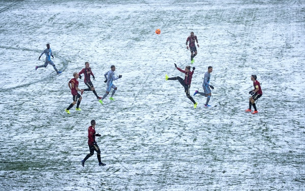 Snow and cold marked Minnesota United's home-opener on March 12, 2017 against Atlanta United at TCF Bank Stadium.