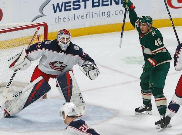 Minnesota Wild's Jared Spurgeon, right, celebrates a goal off Columbus Blue Jackets' goalie Sergei Bobrovsky, left, of Russia, by Jordan Greenway duri