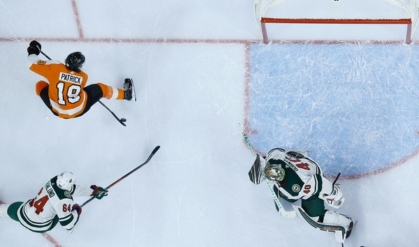 The Flyers' Nolan Patrick (19) scored against Wild goalie Devan Dubnyk with a nifty between-the-legs shot during the second period of Philadelphia's 7